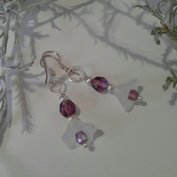SALE Crystal Plum Flower Design Silver Plated Earings