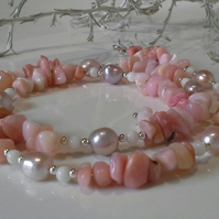 Puruvian Pink Opal. Agate, Freshwater Pearl Sterling Silver Necklace