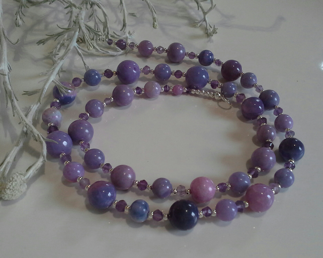 Rare Lavender Opal & Amethyst Sterling Silver Necklace