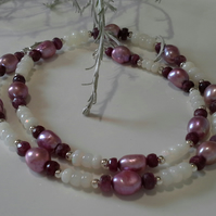 Ruby, Ethopioan Wello Opal & Fresh Water Pearl 925 Silver Necklace