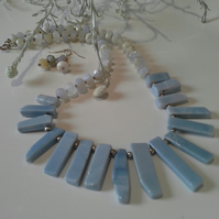 Tribal Design Genuine Blue Opal Choker Sterling Silver Necklace & Earrings