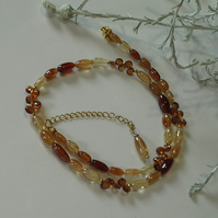 Genuine Hessanite Garnet Necklace Gold Vermeil