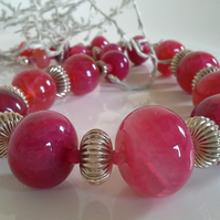 Pink Agate Statement 925  Sterling Silver Bead Necklace