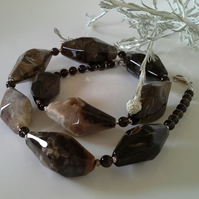Agate & Smokey Quartz Sterling Silver Necklace