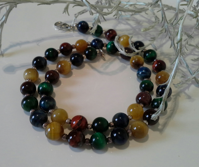 Multi Coloured  Tigers Eye Sterling Silver Necklace