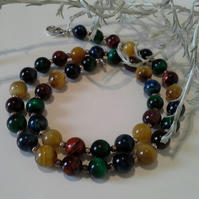 Multicoloured Genuine Tiger's Eye Sterling Silver Necklace