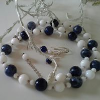 Genuine Sodalite, White Onyx Necklace & Earrings Set 925 Sterling silver