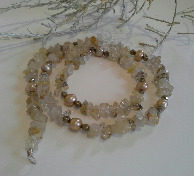 Rutilated Yellow Quartz, Freshwater Pearls,  Pyrite Sterling Silver Necklace