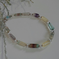 Natural Fluorite & White Quartz Sterling Silver Bracelet