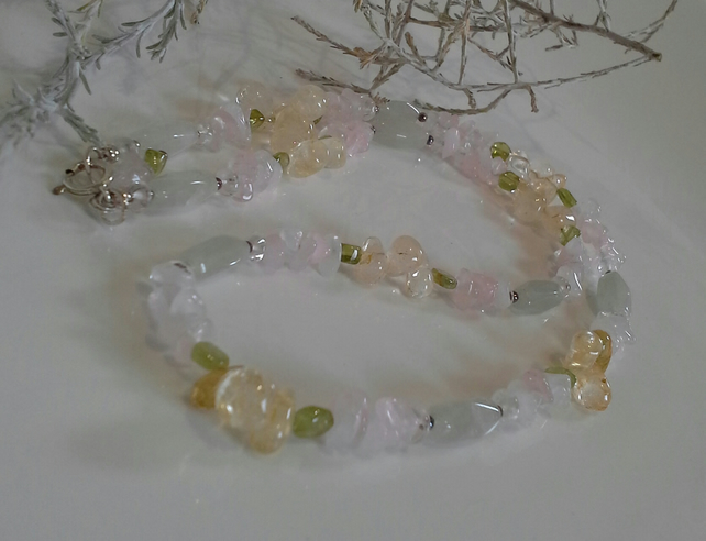 Rose Quartz, Citrine,  Peridot & Aventurine Sterling Silver Necklace