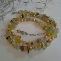 Freshwater Pearls & Multi Coloured Fluorite Sterling Silver Necklace