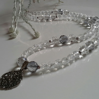 Faceted Genuine White & Gray Quartz Sterling Silver Necklace