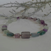 Multicoloured Fluorite Sterling Silver Bracelet