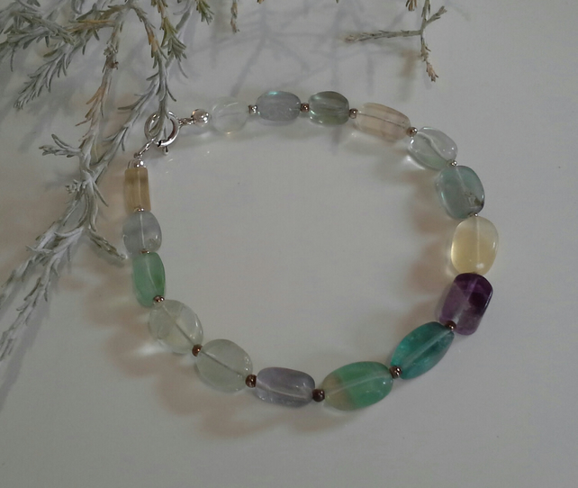 Natural Fluorite Sterling Silver Necklace