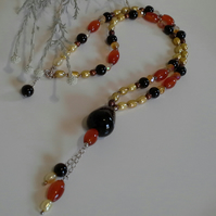 Freshwater Pearl, Black Onyx,  Carnelian 925 Silver Necklace