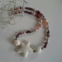 Lava Rock, Ruby, Tourmaline, Opal & Shell Pearl Silver Plate Necklace