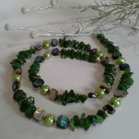 Russian Diopside,  Amolone Shell & Freshwater Pearl Sterling silver Necklace