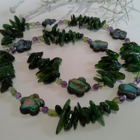 Russian Chrome Diopside, Abalone Shell, Peridot, Amethyst 925 Silver Necklace