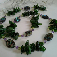 Russian Diopside, Abalone Shell, Peridot,  Amethyst Sterling Silver Necklace