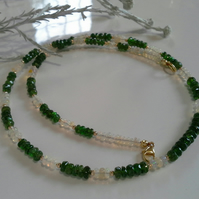 Russian Chrome Diopside & Ethopian Wello Opal Gold Vermeil Necklace