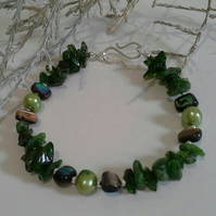 Chrome Diopside,  Abalone Shell & Pearl Sterling Silver Bracelet