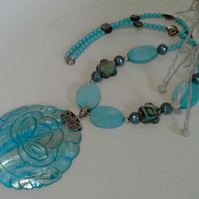 Abalone Shell,  Shell Pearls, Dyed Mother of Pearl necklace Solid 925
