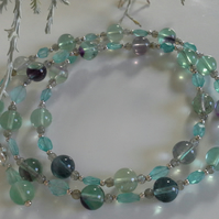 Natural Apatite & Fluorite Sterling Silver Necklace