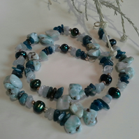 SALE ITEM LARIMAR, APATITE, PEARL NECKLACE 925 STERLING SILVER