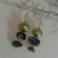 SALE ITEM Chrome Diopside, Abalone Shell & Pearl Sterling silver Earrings