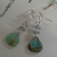 Amazonite,  Fluorite Sterling Silver Earrings