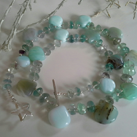 Amazonite & Fluorite Sterling Silver Necklace