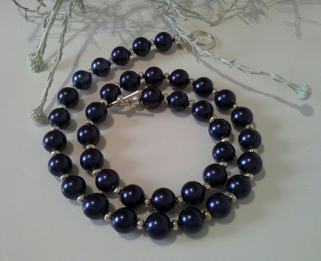 Deep Blue  Shell Pearl Necklace Silver Plated