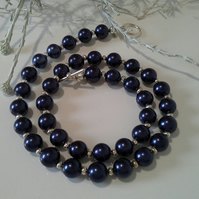 Deep Sapphire Blue  Shell Pearl Necklace Silver Plated