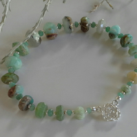 Genuine Amazonite & Emerald Sterling Silver Bracelet