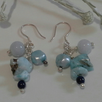 Larimar, Aquamarine,  Freshwater Culture Pearl Cluster Sterling Silver Earrings