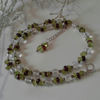 Clear Quartz, Peridot,  Indian Red Garnet Sterling Silver Necklace
