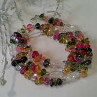 Multi Coloured Quartz & Clear Quartz Sterling Silver Necklace
