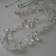 Genuine Clear Quartz Sterling Silver Necklace