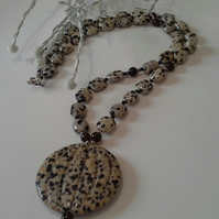 Dalmatian Jasper, Smokey Quartz & Agate Sterling Silver Necklace