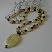 Lime Jade, Jasper & Smokey Quartz Sterling Silver Necklace