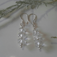 Clear Faceted Quartz Earrings Sterling Silver