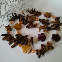Mookite, Tiger's Eye, Carnelian, Heamotite Gold Vermeil Necklace