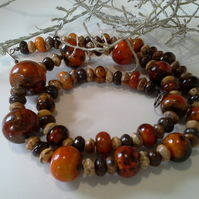 Statement Rare Orange Turquoise (Stabilised) & Jasper Sterling Silver Necklace