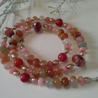 Quartz, Freshwater Pearls & Quartzite Sterling Silver Necklace