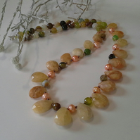 Genuine Helidor, Agate & Cultured Pearls Necklace 925 Sterling Silver