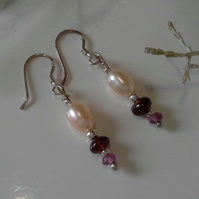 Freshwater Pearls, Rare Rhodolite & Indian Red Garnet Earrings Sterling silver