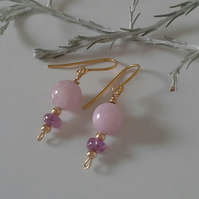SOLID  9K Yellow Gold Rare Pink Kunzite & Pink Sapphire Earings