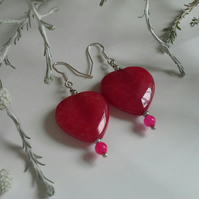 Large Genuine Quartzite Heart Earrings Sterling Silver