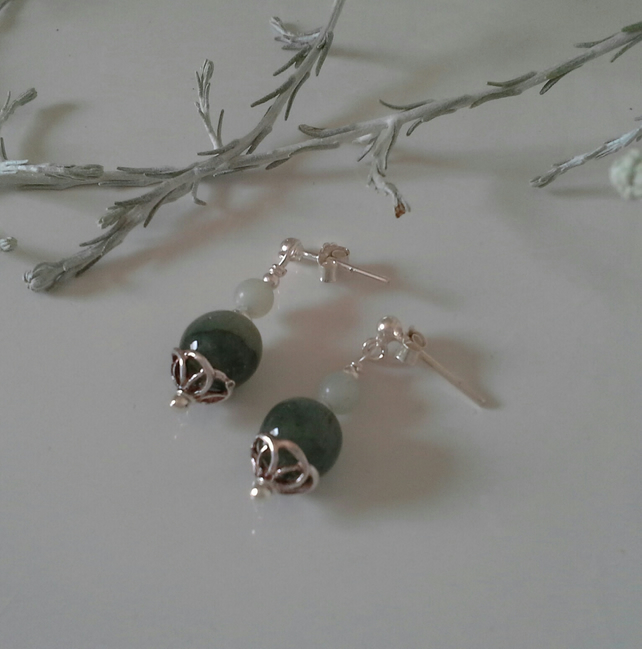 Chinese Jade & Burmees Jadeite Sterling Silver Stud Earrings