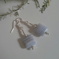 A GRADE Genuine Blue Lace Agate Earrings Sterling Silver